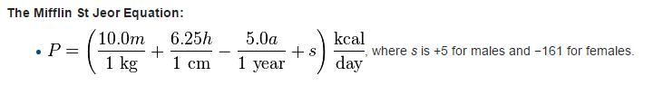 Уравнение Mifflin St Jeor для подсчета суточной потребности в калориях