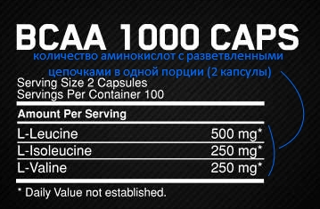 Состав ВСАА 1000 от Optimum Nutrition.