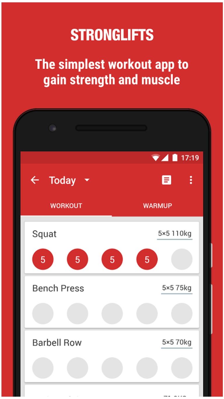 Stronglifts 5×5 - программа тренировок на массу. Мобильное приложение