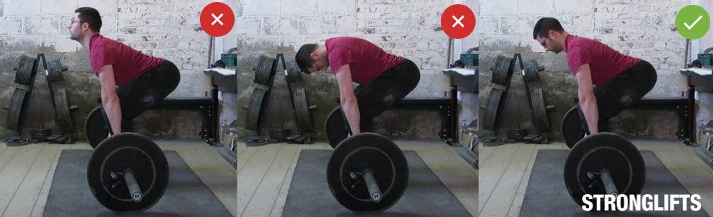 Становая тяга: положение головы